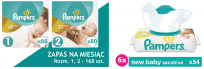 PAMPERS Premium Care 1,2 NEWBORN/Mini 168szt. + New Baby sensitive Chustezki 6x54szt.