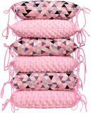 T-TOMI Polštářkový mantinel do postýlky – pink triangles