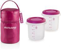 MINILAND Termoizolačné puzdro + tégliky na jedlo 2 ks – Pink