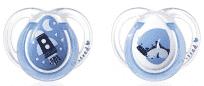 TOMMEE TIPPEE Šidítko symetrické C2N silikon Night 2 ks (0-6 m) – modré