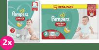 2x PAMPERS Pants 3 Active Baby Dry 192 ks (6-11 kg) MĚSÍČNÍ ZÁSOBA - plenkové kalhotky