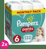 2x PAMPERS Pants 6 Active Baby Dry 132 ks (15+ kg) MĚSÍČNÍ ZÁSOBA - plenkové kalhotky