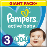 PAMPERS Active Baby 3 (6-10 kg) 104 ks GIANT PACK – jednorazové plienky