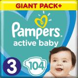 PAMPERS Active Baby 3 (6-10 kg) 104 ks GIANT PACK – jednorázové pleny