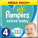 PAMPERS Active Baby 4 (9-14 kg) 132 szt. MEGA PACK – pieluchy jednorazowe