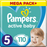 PAMPERS Active Baby 5 (11-16 kg) 110 szt. MEGA PACK – pieluchy jednorazowe