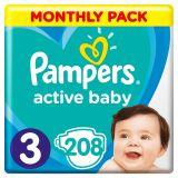 PAMPERS Active Baby 3 (6-10 kg) 208 szt. ZAPAS NA MIESIĄC – pieluchy jednorazowe