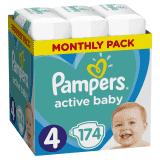 PAMPERS Active Baby 4 (8-14kg) 174 ks MESAČNÁ ZÁSOBA – jednorazové plienky