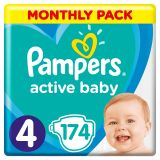 PAMPERS Active Baby 4 (8-14 kg) 174 ks MĚSÍČNÍ ZÁSOBA – jednorázové pleny