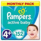 PAMPERS Active Baby 4+ (10-15 kg) 152 szt. ZAPAS NA MIESIĄC – pieluchy jednorazowe