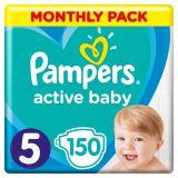 PAMPERS Active Baby 5 (11-16 kg) 150 ks MESAČNÁ ZÁSOBA – jednorazové plienky