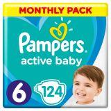 PAMPERS Active Baby 6 (13-18 kg) 124 szt. ZAPAS NA MIESIĄC – pieluchy jednorazowe