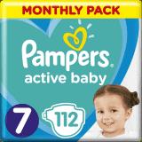 PAMPERS Active Baby 7 (15 kg+) 112 ks MĚSÍČNÍ ZÁSOBA  – jednorázové pleny