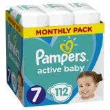 PAMPERS Active Baby 7 (15 kg+) 112 ks  MESAČNÁ ZÁSOBA – jednorazové plienky