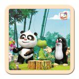 BINO Krtko a Panda v lese drevené puzzle 4 diely