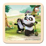 BINO Krtek a Panda koloběžka dřevěné puzzle 4 dílky