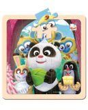 BINO Krtko a Panda oslava drevené puzzle 20 dielov