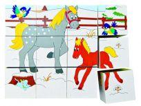 WOODY Klocki sześcienne 3x4 – Zwierzęta