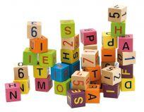 WOODY Drewniane klocki – alfabet i cyfry, 40 szt.