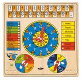 WOODY Drewniany kalendarz z zegarem z językiem angielskim