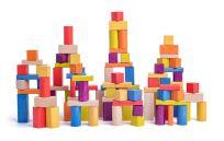 WOODY Zestaw klocków drewnianych naturalnych i kolorowych, 2,5 cm