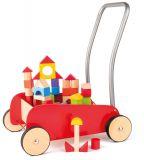 WOODY Kolorowy wózek z drewnianymi klockami