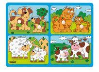 WOODY Puzzle pro nejmenší  s úchyty - domácí zvířata s mláďaty,
