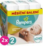 2x PAMPERS Premium Care 2 MINI 240 ks (3-6 kg) MESAČNÁ ZÁSOBA – jednorazové plienky