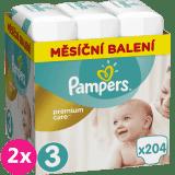 2x PAMPERS Premium Care 3 MIDI 204 ks (5-9 kg) MESAČNÁ ZÁSOBA – jednorazové plienky