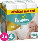 2x PAMPERS Premium Care 4 MAXI 168 ks (8-14 kg) MESAČNÁ ZÁSOBA – jednorazové plienky