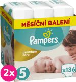 2x PAMPERS Premium Care 5 JUNIOR 136 ks (11-18 kg) MESAČNÁ ZÁSOBA – jednorazové plienky