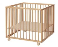 BABYDAN Dřevěná ohrádka Comfort Medium 79x79x73 cm, natur