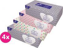 4x LINTEO Satin papírové kapesníky Box 200 ks, bílé, 2 vrstvé