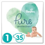 PAMPERS Pure Protection S1, 35 ks (2-5 kg) – jednorazové plienky