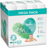 PAMPERS Pure Protection S3, 124 ks (6-10 kg) – jednorazové plienky
