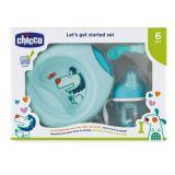 CHICCO Jídelní set - talíř, lžička, sklenka, 6m+ - modrý