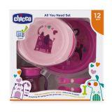 CHICCO Jídelní set - talíře, příbory, sklenka, 12m+ - růžový