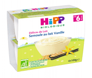 HiPP BIO Mliečny dezert krupicový s vanilkou Bourbon 4x100 g