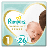 PAMPERS Premium Care 1 NEWBORN (2-5 kg) 26 szt. Carry Pack – pieluchy jednorazowe