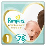PAMPERS Premium Care 1 NEWBORN (2-5 kg) 78 ks Value Pack – jednorazové plienky