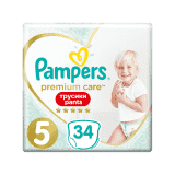 PAMPERS Premium Care Pants 5 JUNIOR (12-17 kg) 34 ks Value Pack – plenkové kalhotky