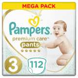 PAMPERS Premium Care Pants 3 MIDI (6-11 kg) 112 ks MEGA BOX – plenkové kalhotky