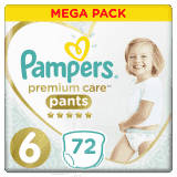 PAMPERS Premium Care Pants 6 MAXI (15+ kg) 72 ks MEGA BOX – plenkové kalhotky