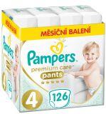 PAMPERS Premium Care Pants 4 MAXI (9-15 kg) 126 ks MĚSÍČNÍ ZÁSOBA – plenkové kalhotky