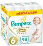 PAMPERS Premium Care Pants 6 MAXI (15+ kg) 98 ks MĚSÍČNÍ ZÁSOBA – plenkové kalhotky
