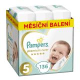 PAMPERS Premium Care 5 JUNIOR 136 ks (11-16 kg) MESAČNÁ ZÁSOBA – jednorazové plienky