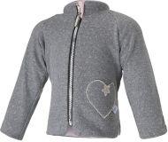LITTLE ANGEL Kabátek podšitý Srdce Outlast® vel. 92 – šedý melír lesk/růžová baby