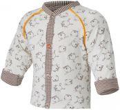 LITTLE ANGEL Kabátek podšitý Outlast® vel. 62/68 – natur hnědá zvířátka/pruh sv.hnědý