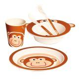MERTENS Dětské nádobí z bambusu, 5 dílů, Opička