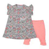DIRKJE Set 2-dílný šaty A-SO BRIGHT LOVE PINK vel. 68 Grey
